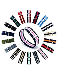 CIVO Watch Bands NATO Premium Ballistic Nylon Watch Strap Stainless Steel Buckle 18mm 20mm 22mm with Top Spring Bar Tool and 4 Spring Bars Bonus (Navy/Pink/Ivory, 22mm)