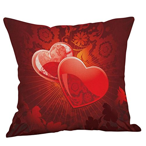 """Price comparison product image Pillows Covers, vmree 18X18"""" Happy Valentines Pillow Cases Linen Blend Sofa Pillowcase Cushion Cover Home Decor (E)"""