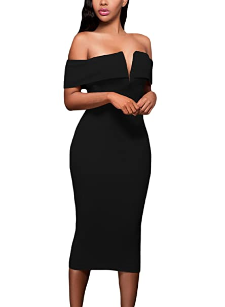 c2ba09ece2 ZKESS Womens Solid Sexy V Neck Off The Shoulder Party Evening Bodycon Midi  Dress Black Small