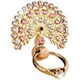 Dolloress Luxury Peacock Crystal Mobile Phone Holder Watch Shape Metal Finger Ring Stand Holder Phone Bracket (Pink)