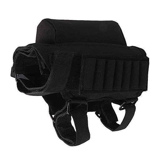 Adjustable Buttstock Shell Holder - Nylon Cheek Rest Pouch for Tactical Hunting Rifle Shotgun with Ammo Carrier Case Black