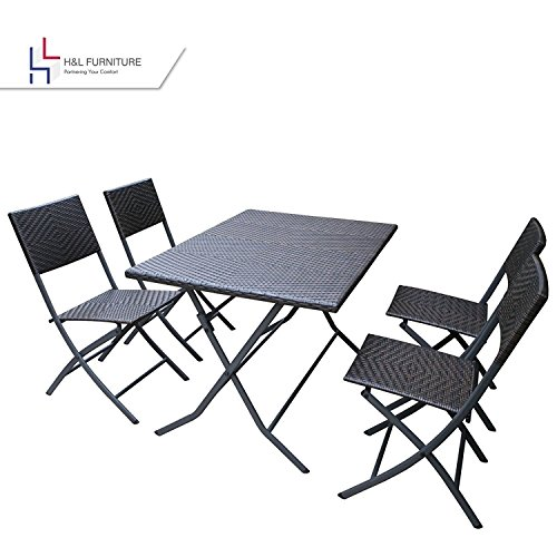H&L Patio Resin Rattan Steel Folding Bistro Set, Parma Style, All Weather Resistant Resin Wicker, 5 PCS Set of Foldable Table and Chairs, Color Espresso Brown, 1 Year Warranty (Folding Set Furniture Patio Dining)