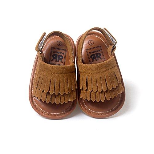 LIVEBOX Infant Baby Girls Moccasins Tassels Premium Soft Rubber Sole Anti-Slip Summer Prewalker Toddler Sandals(M: 6~12 months,Chocolate)