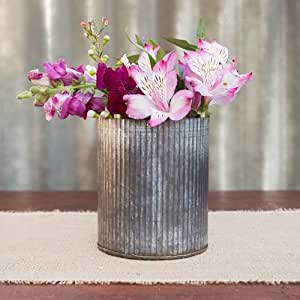 "2 Pack-Rustic Tin Vase, Corrugated Sides, 5.25 x 4"", Galvanized Metal"