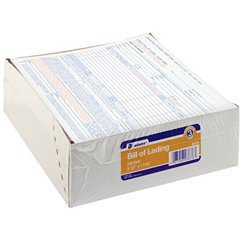 Adams Bill of Lading Short Form, 8-1/2 x 7-7/16 Inches, White, 3-Part, 250-Count (Blank Carbonless Forms)