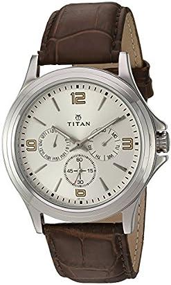 Titan Men's 'Neo' Quartz Metal and Leather Watch, Color:Brown (Model: 1698SL01)