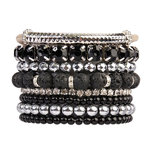 Silver Bead Set - RIAH FASHION Multi Color Stretch Beaded Stackable Bracelets - Layering Bead Strand Statement Bangles (Lava Silver)
