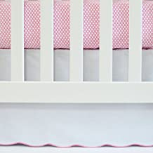 Oliver B White Crib Skirt with Fuchsia Scallop Trim