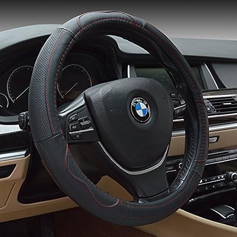 HONCENMAX Vehicle Steering Wheel Cover Quality Comfy Car Steering Wheel Protector Universal Diameter 38cm(15') Easy Installation - Genuine Leather Black