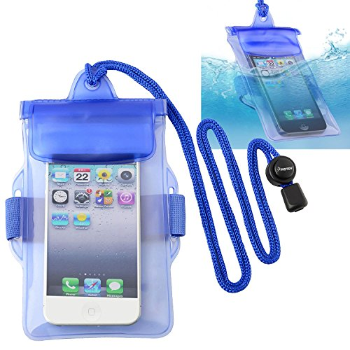 INSTEN Universal Waterproof Bag Case Compatible with Cell Phone, Apple iPhone 5s / 5/4 / SE, Samsung Galaxy, LG, HTC, Huawei, BlackBerry, PDA [ Size 5 x 3 inches ] Blue - Waterproof Pda Case