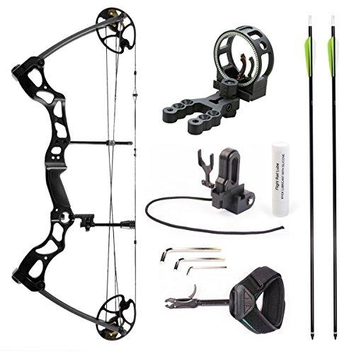 Leader Accessories Compound Bow Hunting Bow 50-70lbs with Max Speed 310fps (Black with Kit) (Best Tactical Compound Bow)