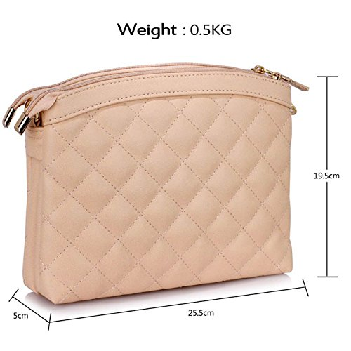 Xardi London Charvet Quilted Leatherette Medium Cross Body Bags, sella borsa a tracolla Nude Style 2