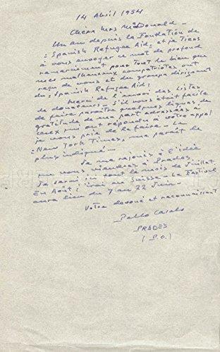 Pablo Casals – Autograph Letter Signed 04/14/1954