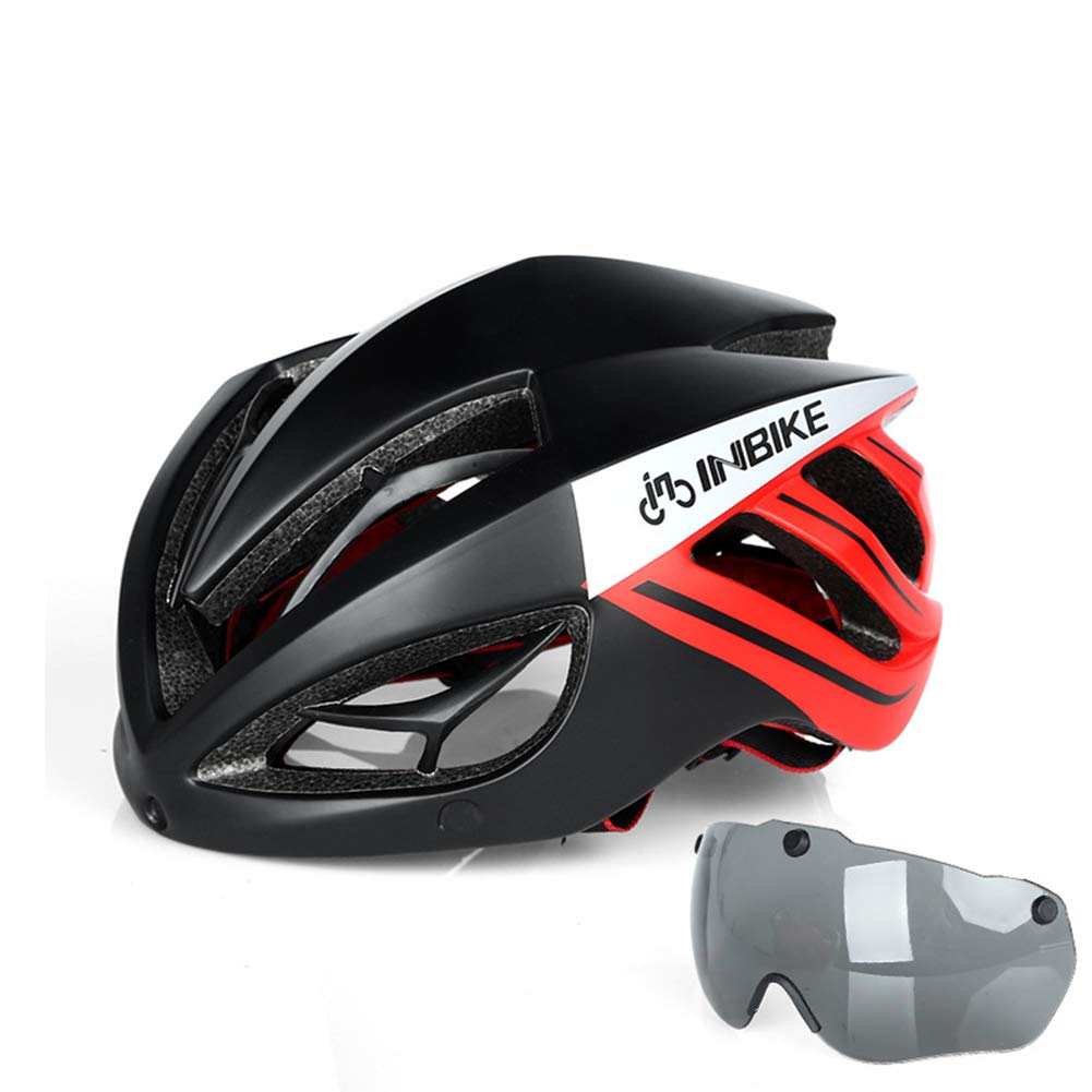 GLEI-TK Erwachsene Bike-Helm Impact Resistant, Light Weight, Adjustable Fit EPS, PC Sports Road Cycling Recreational Cycling Cycling Bike-Blau Rot Weiß
