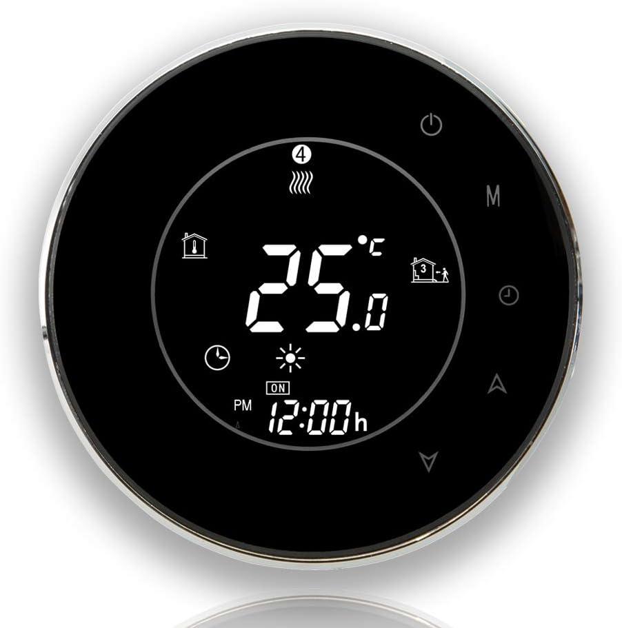 BECA 6000 Series 3 / 16A Pantalla táctil LCD Calentador de agua / electricidad / caldera Termóstato inteligente de control de programación con conexión WIFI (Calefacción eléctrica, Negro)