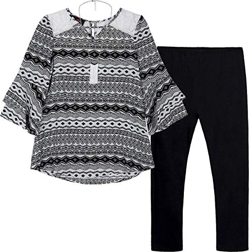 Amy Byer Girls' Big 3/4 Sleeve Top and Legging Outfit Set, Black/Ivory Diamond Stripe M