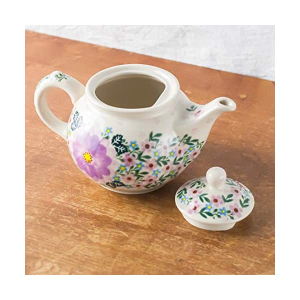 Polish Pottery, Handpainted and Handcrafted Ceramic Teapot 1.0L ― Pink Flowers Unique Pattern (U208)