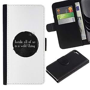 All Phone Most Case / Oferta Especial Cáscara Funda de cuero Monedero Cubierta de proteccion Caso / Wallet Case for Apple Iphone 5 / 5S // WILD THING MESSAGE
