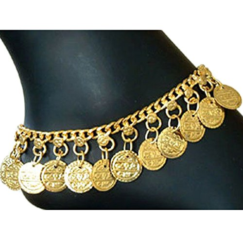 Indian Dance Dress Costume (Indian Traditional Belly Dance Ghungroo Gold-Toned Brass Coin Anklet)