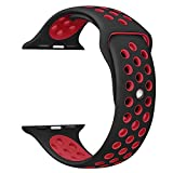 OULUOQI for Apple Watch Band 42mm, Soft Silicone Replacement Band for Apple Watch Series 3/2/1,.Nike+, Sport, Edition, M/L Size ( Black/Red)