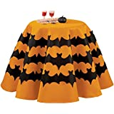 Collections Etc Round Orange Halloween Tablecloth with Bats, 70""
