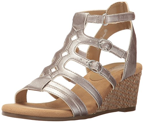 Aerosoles Women Sparkle Wedge Sandal, Silver, 6 M US