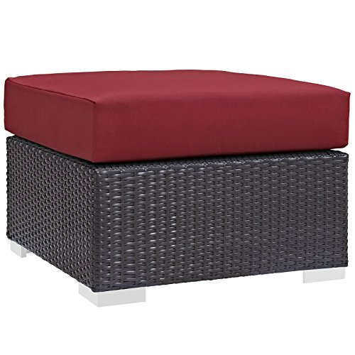 Modway Convene Wicker Rattan Outdoor Patio Square Ottoman in Espresso Red Upholstery Square Weave