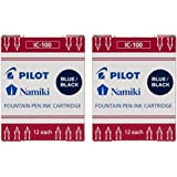 Pilot Namiki IC100 Fountain Pen Ink Cartridge, Blue/Black, 12 Cartridges per Pack (Pack os 2)