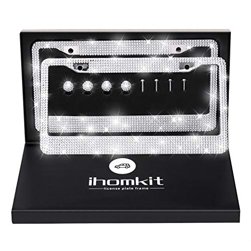IHOMKIT Bling License Plate Frame,Luxury Handcrafted Car Frame Plate White Rhinestone Premium Stainless Steel with High-Grade GiftBox,Unique Gift for Women Men