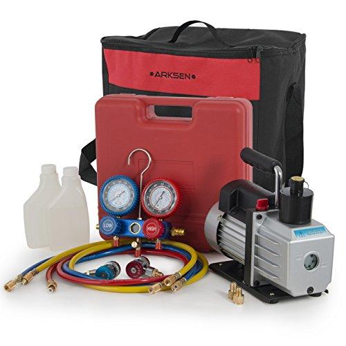 Standard Motor Pump Vane Rotary - ARKSEN 5CFM Single Stage Vacuum Pump HVAC A/C Manifold Gauge for (R134a) Carrying Tote