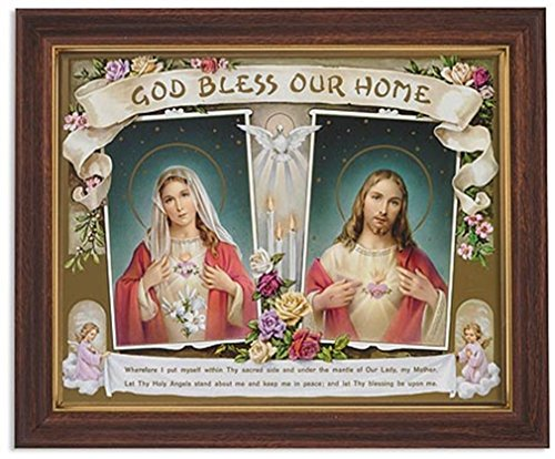 Gerffert Collection Sacred Hearts God Bless Our Home Framed House Blessings Print, 13 Inch (Wood Tone Finish Frame) by Gerffert Collection