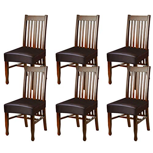 (Fuloon Dining Chair Covers,Solid Pu Leather Waterproof and Oilproof Stretch Dining Chair Protctor Cover Slipcover (6 Sets, BNB) )