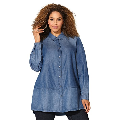 Avenue Women's Seamed Hem Denim Tunic Shirt, 26/28 Medium Wash