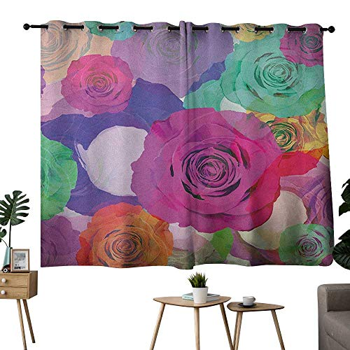 (NUOMANAN Curtains for Bedroom Art,Love Valentines Floral Arrangement with Vivid Roses Nature Flowers Botany Print, Magenta Turquoise Curtain Panels for Bedroom & Kitchen,1 Pair 42