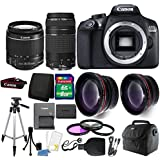 Canon EOS 1300D 18MP Digital SLR Camera (Black) with 18-55mm IS III and 75-300mm Lens 8GB Accessory Kit