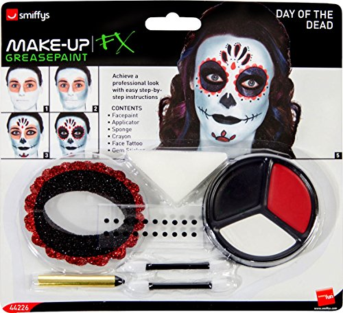 Smiffy's Day of The Dead Make-Up Kit, with Face Paints