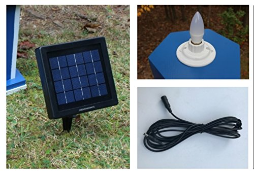 Chesapeakecrafts Solar Beacon for Lawn Lighthouses - LED Bulb with Remote Solar Panel. Automatic Dusk to Dawn Operation with up to 8 Hours of Light.