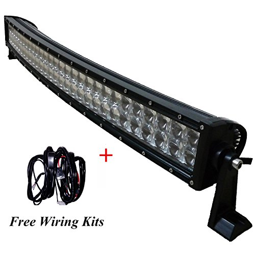 Curved Double Radius - AngelMa 25 inch 200W OSRAM Double Row Curved Radius LED Light Bar Spot Flood Combo Off Road Lamp Marvick UTV Yamaha Viking Ranger RZR Dune Buggy Desert Race Truck 4x4+Free Switch Wiring Harness Kit