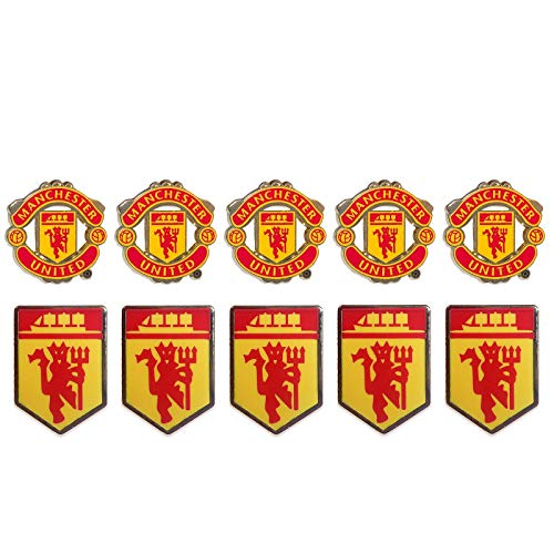 - Manchester United FC Official Soccer Gift 10 Pack Crest & Devil Pin Badge