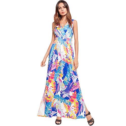 Verano amp;x Azul V Qin Largo Cuello Imprimir Mujer Vestido Boho 6aFq1