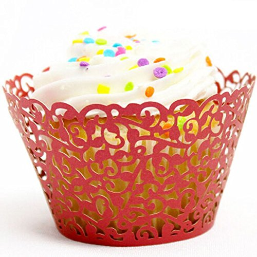 JOYJULY 60pcs Filigree Artistic Muffin Case Cupcake Paper Cup Liner Little Vine Lace Laser Cupcake Wrappers for Wedding Party Birthday Decoration, Red -