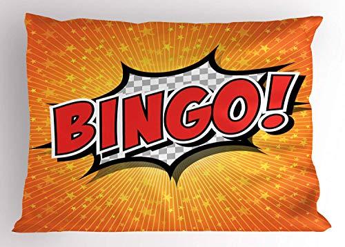 HFYZT Bingo Pillow Sham, Comic Speech Bubble Cartoon Pop Art Retro Style Star Burst Backdrop, Decorative Standard King Size Printed Pillowcase, 18 X 18 Inches, Orange Vermilion and -