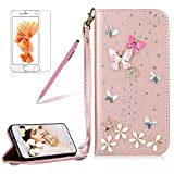 Girlyard For iPhone 6 / iPhone 6S Diamond Wallet Leather Case Cover Bling Glitter Crystal PU Leather Folio Flip Stand Protective Magnetic Case Cover with Wrist Strap and Card Slots Rose Gold Butterfly Flower
