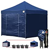 Abccanopy 10-feet By 10-feet Festival Steel Instant Canopy, Commercial Level, with Wheeled Storage Bag, 6 Removable Zipper End Walls , Bonus 4x Weight Bag (NAVY BLUE)