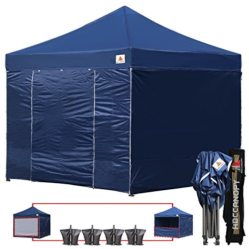 (18+ colors)AbcCanopy Commercial 10×10 Ez Pop up Canopy, Party Tent, Fair Gazebo with 6 Zipped End Sidewalls and Roller Bag Bonus 4x Weight Bag (navy blue)