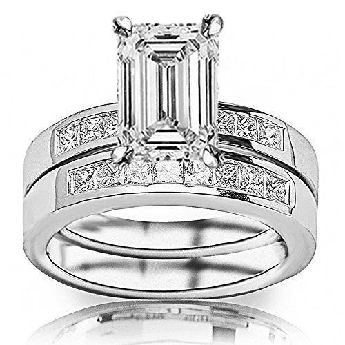 1.35 Ctw 14K White Gold Classic Channel Set Princess Cut Engagement Ring and Wedding Band Set w/ Emerald 0.5 Carat Forever One Moissanite Center - Moissanite Princess Jewelry Set