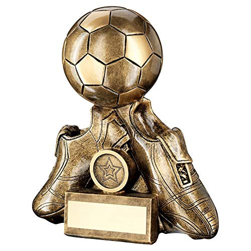 Lapal Dimension BRZ/Gold Two Football Boots with Ball Trophy (1in Centre) - 4.5in