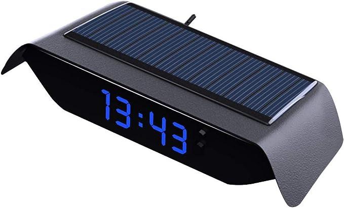 Auto-Digitaluhr freie Verkabelung Solar Auto Elektrische Uhr//Thermometer Blau Eingebauter Batterie,Uhr//Temperatur//Woche//Datum// 4-in-1 Leuchtend,Hochtemperaturbest/ändiges