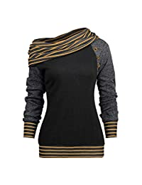 OCEAN-STORE Blouses for Women Striped Patchwork Sweatshirt Shirts Tops
