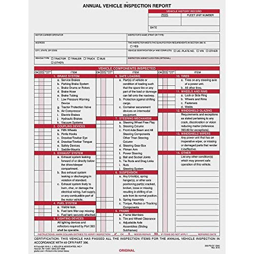 Annual Vehicle Inspection Report, 2-Ply w/Carbon - Stock (Qty: 50 Units)
